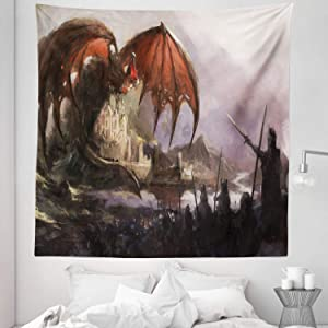 """Lunarable Dragon Tapestry Queen Size, Medieval Fantasy Dragon and Dark Knights Scene with Fortress Castle Mystical, Wall Hanging Bedspread Bed Cover Wall Decor, 88"""" X 88"""", Coral Grey"""