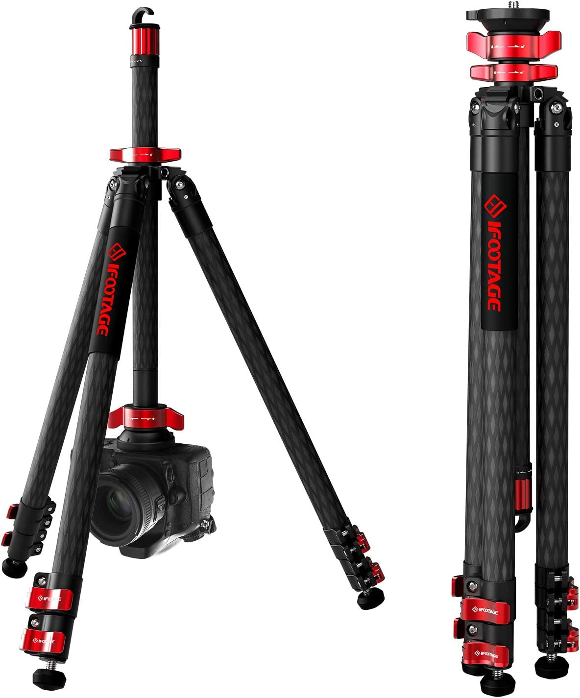 "IFOOTAGE 65"" Carbon Fiber Video Tripod, Professional Camera Tripods 3 Sections with Centre Pole, Max Load 17.6 lbs, Compatible with Canon, Nikon, Sony DSLR Camcorder Video Photography : Camera & Photo"