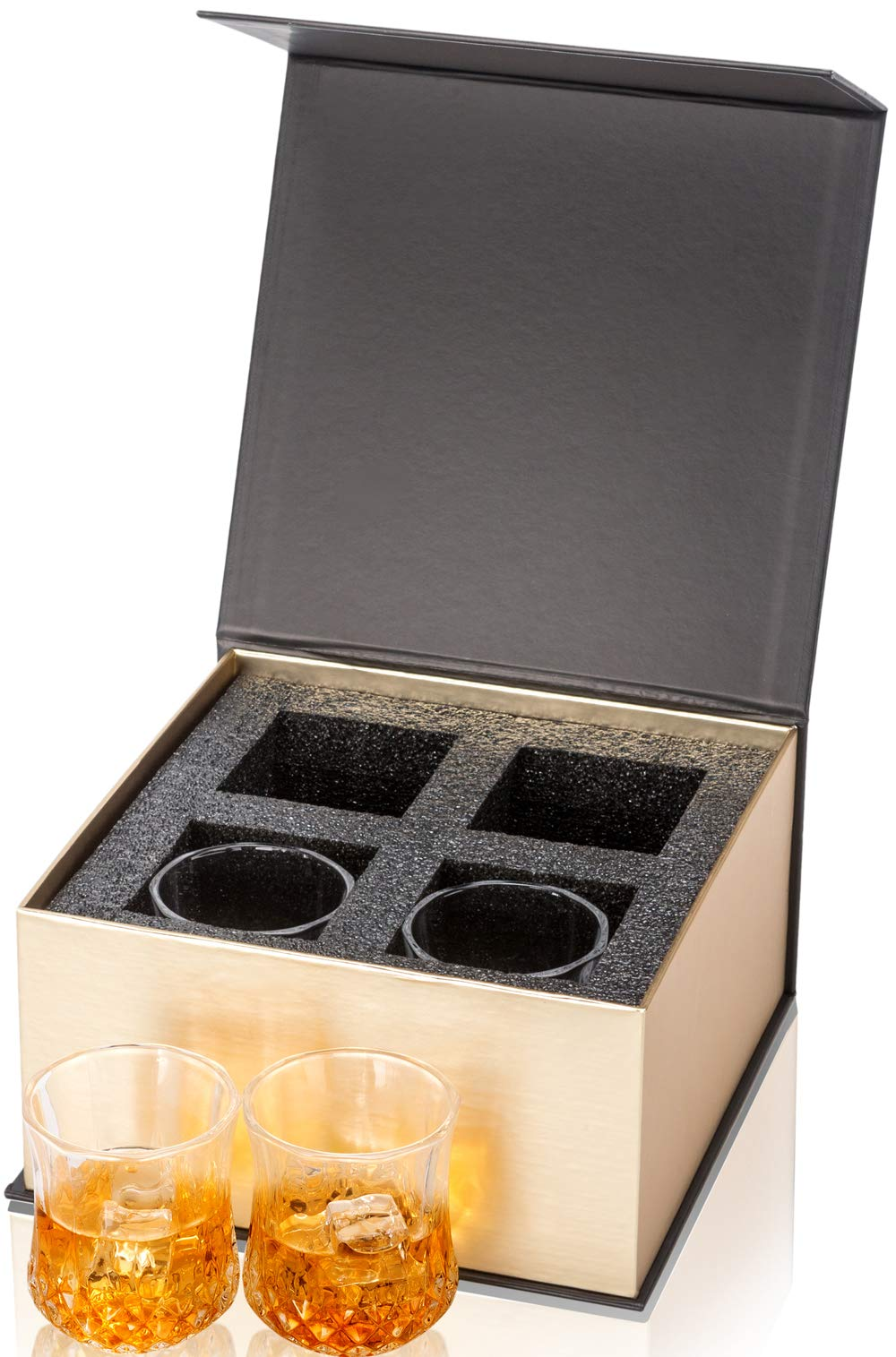 KANARS Small Whiskey Glasses With Unique Elegant Gift Box for Scotch, Bourbon Or Old Fashion Cocktail (7 Oz, Set of 4) by KANARS (Image #3)