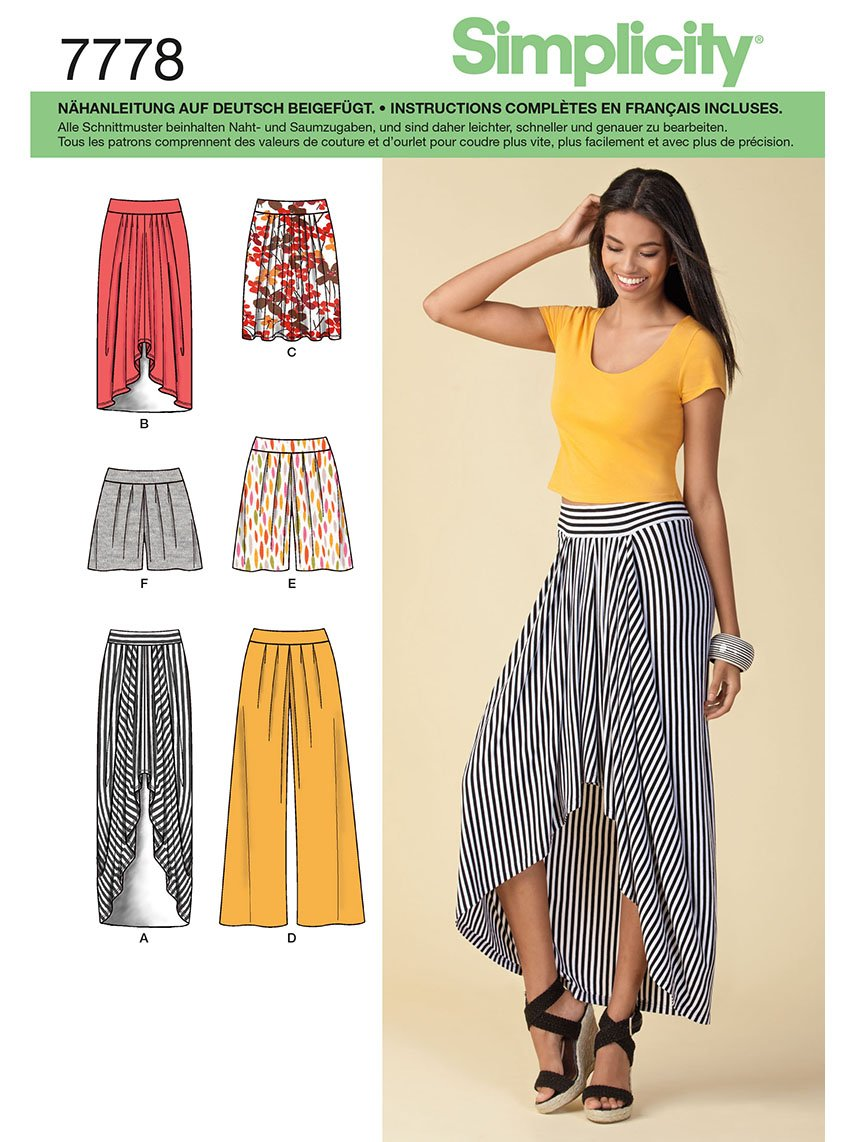Simplicity Sewing Pattern 7778.h5 Skirt and Trouser: Amazon.co.uk ...