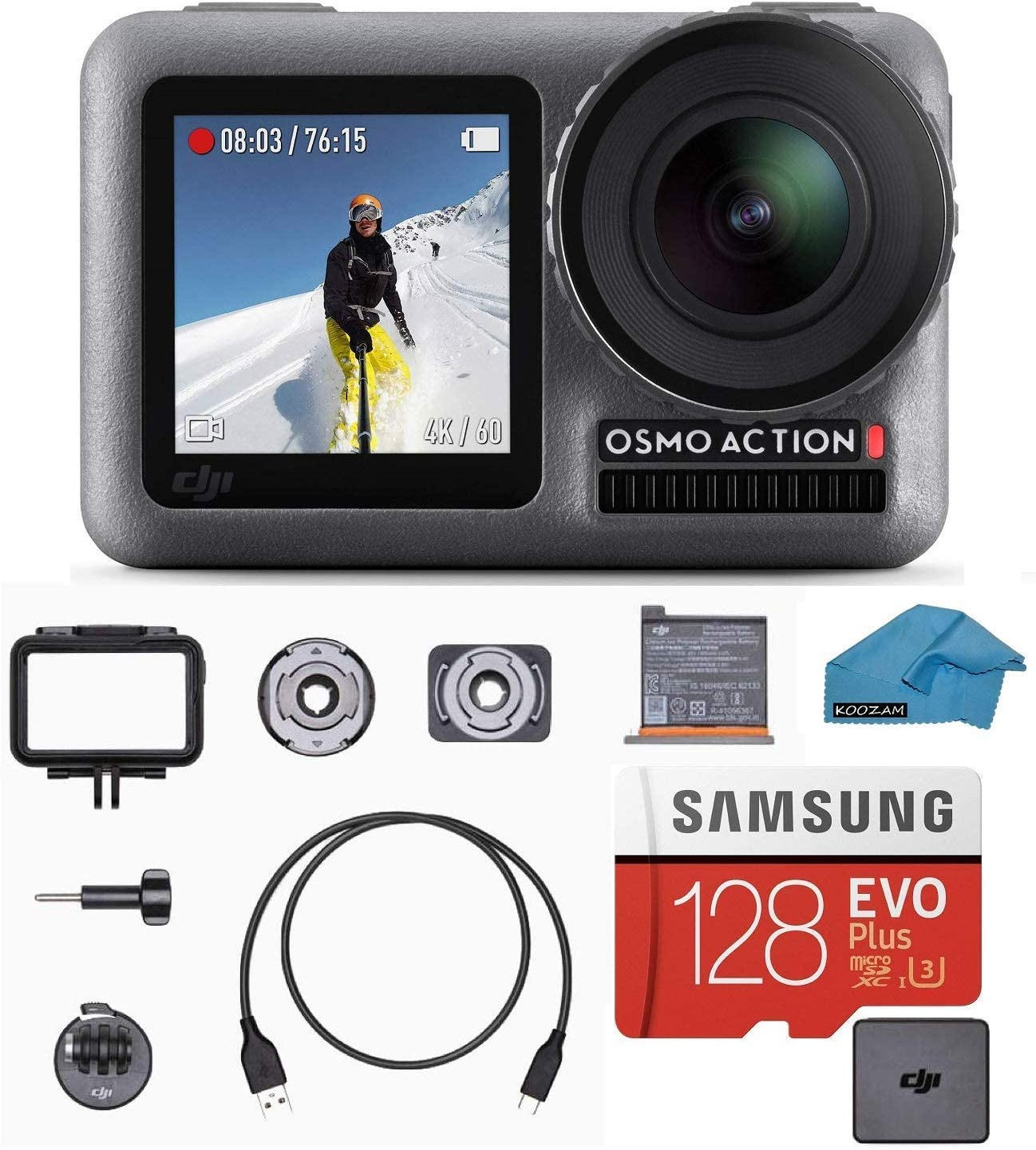 DJI OSMO Action Cam Digital Camera Bundle with 2 Displays 36FT 11M Waterproof 4K HDR-Video 12MP 145 Angle, 128gb Micro SD Card, Card Reader, Must Have Accessories