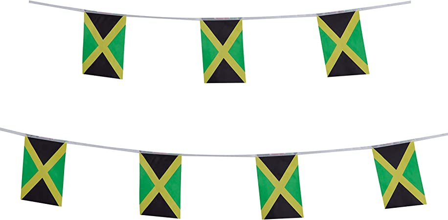Amazon Com Tsmd Jamaica Flag 100 Feet Jamaican Flag National Country World Pennant Flags Banners String Internationl Party Decorations For Grand Opening Olympics Bar School Sports Events Festival Celebration Garden Outdoor