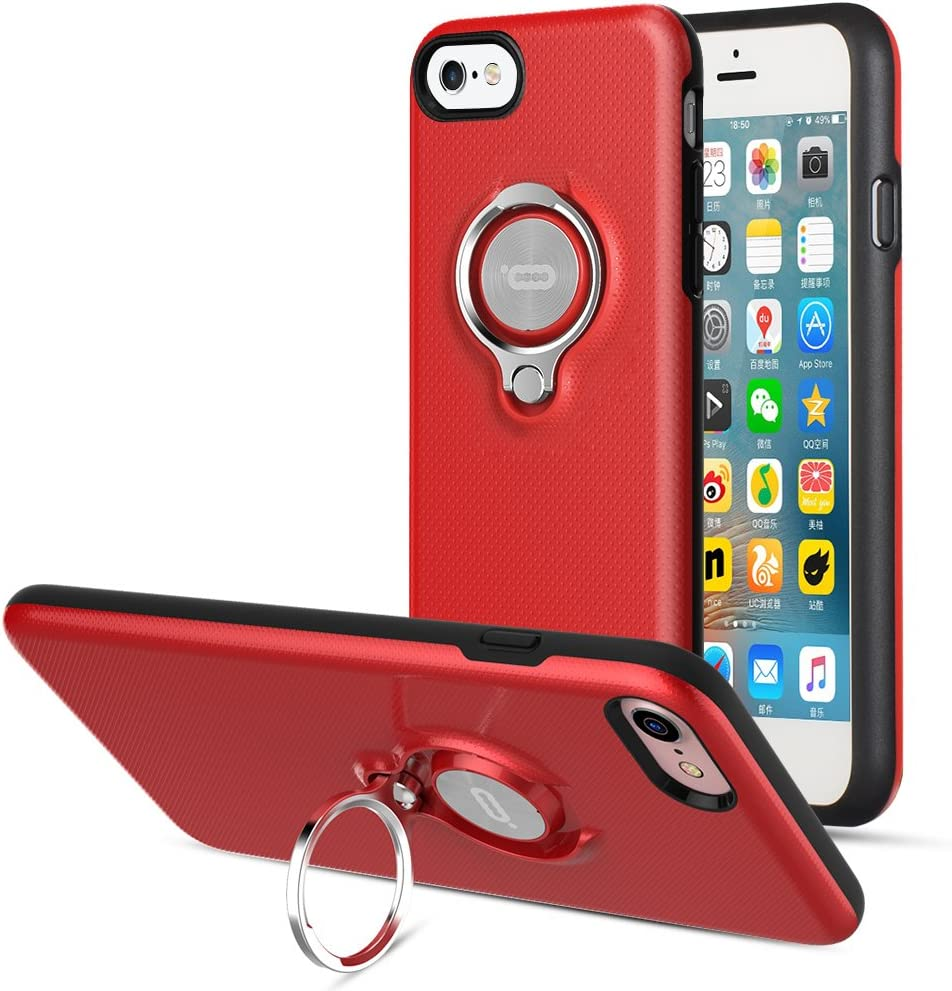 iPhone 8 Case, iPhone 7 Case iPhone SE 2nd Generation Case by ICONFLANG, 360 Degree Rotating Ring Kickstand Case Shockproof Impact Protection Function Can Work with Magnetic Car Mount case 2018- Red