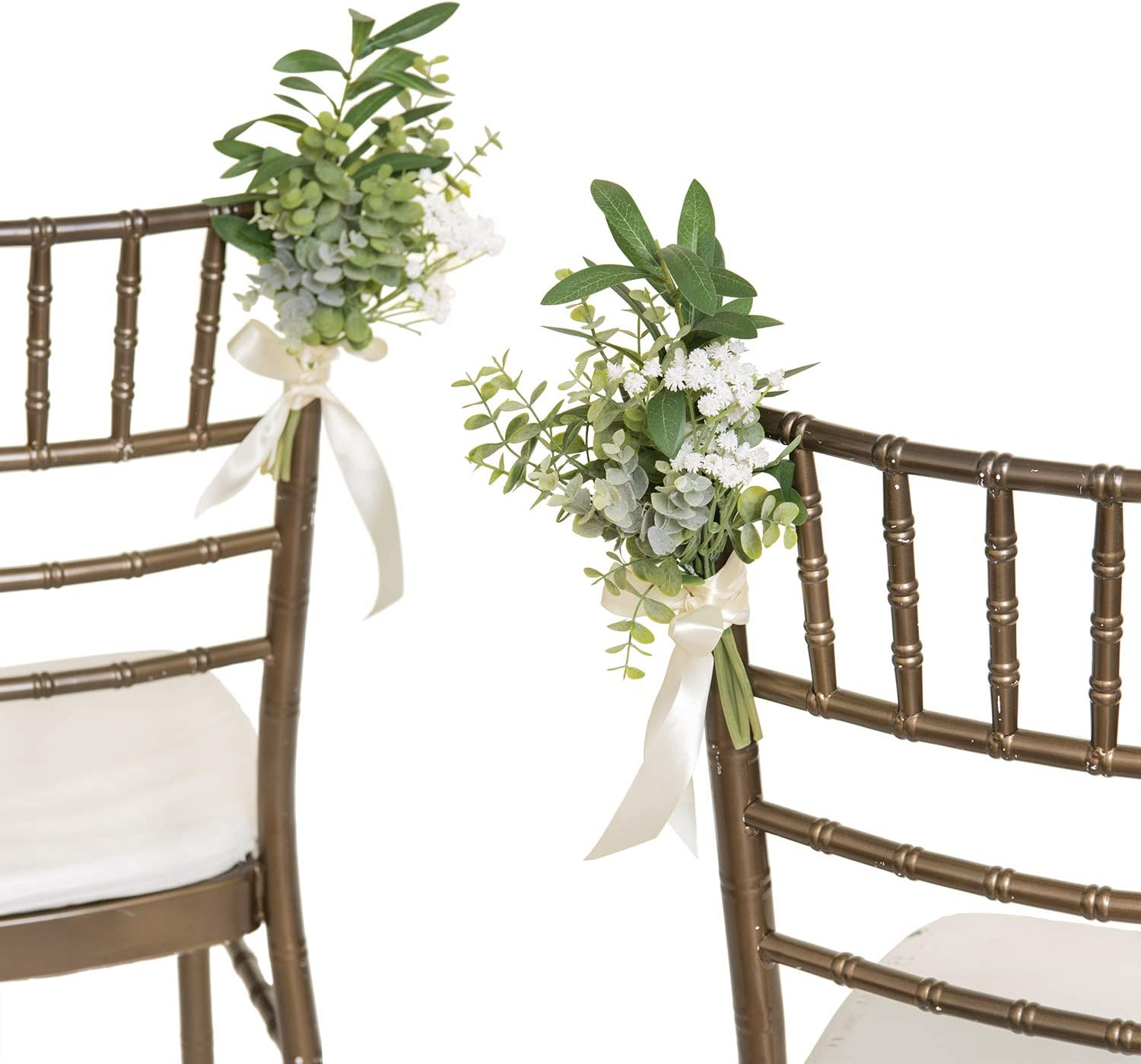 Ling's moment Cozy Winter Greenery Wedding Aisle Decorations for Wedding Chair Decorations with Babysbreath Eucalyptus,Set of 8