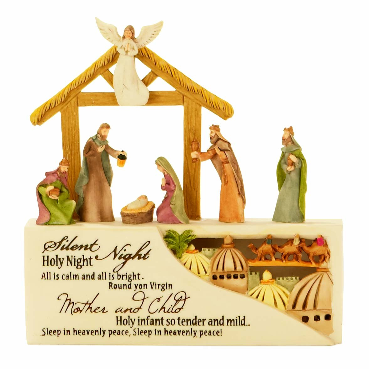 Dicksons Silent Night Nativity LED Lighted 5 x 5 Resin Stone Christmas Nativity Scene Figurine