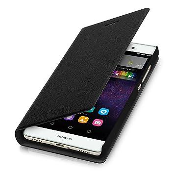 kwmobile Funda compatible con Huawei P8 Lite (2015) - Carcasa con tapa tipo libro - Case protector en negro