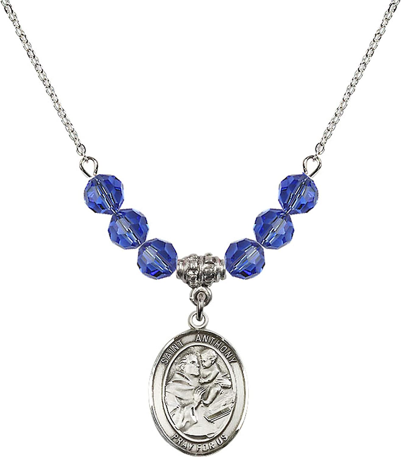 Bonyak Jewelry 18 Inch Rhodium Plated Necklace w// 6mm Blue September Birth Month Stone Beads and Saint Anthony of Padua Charm