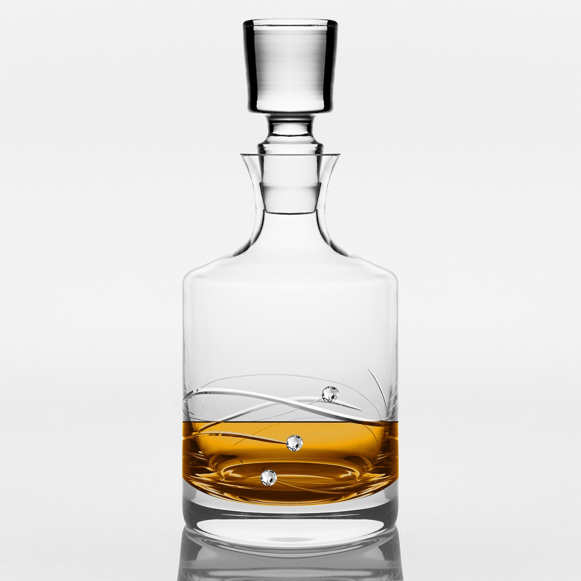 Barski - Handmade Glass - Sparkle - Whiskey Decanter - Decorated with Real Swarovski Diamonds - Gift Boxed - 26 oz .- Made in Europe