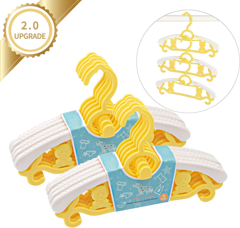 10 Amarilla Zebricolo Perchas Infantiles para Beb/é Ni/ños Ajustables de Pl/ástico Antideslizantes para Ropa Resistentes