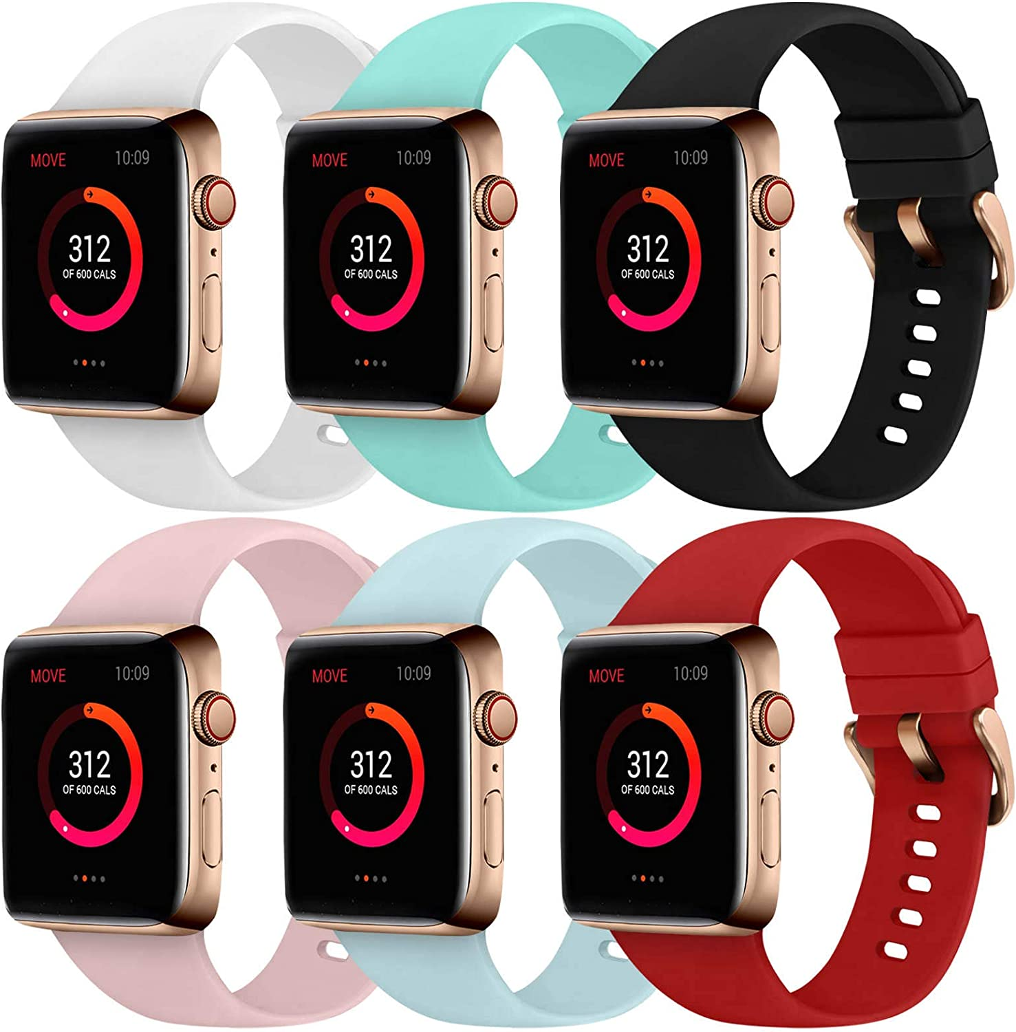 Abincee 6PCS Bands Compatible with Apple Watch 38mm 40mm 42mm 44mm with Rose Gold Buckle,replacement band for iWatch Series 6/5/4/3/2/1 (Black/White/Red/Sand Pink/Turquoise/Teal, 38mm/40mm)