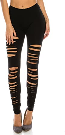 The Classic Full Length Elastic Hole Cut Out Ripped Stretch Leggings Tights Also In Plus Size At Amazon Women S Clothing Store