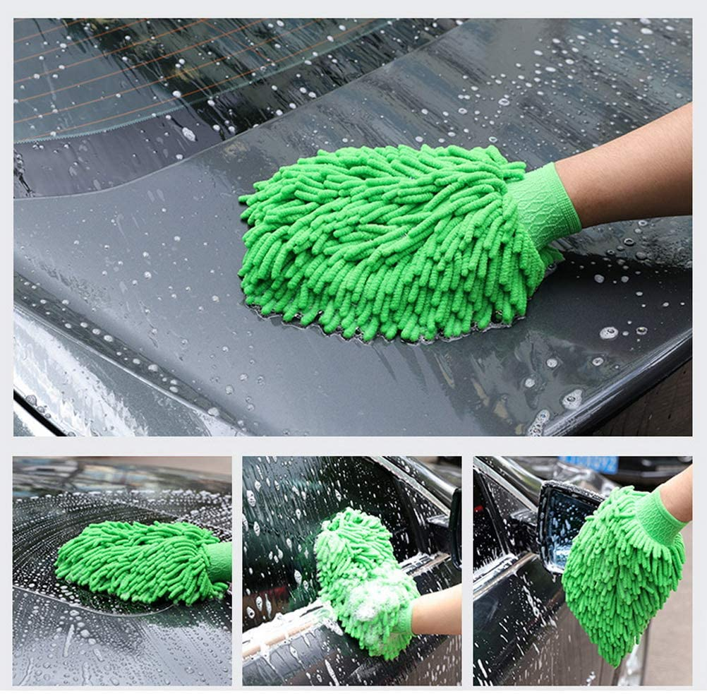 Double Sided Microfiber Car Wash Mitts Super Absorbent Microfibre Gloves for Washing Vehicles kuou 4 Pcs Car Wash Mitts