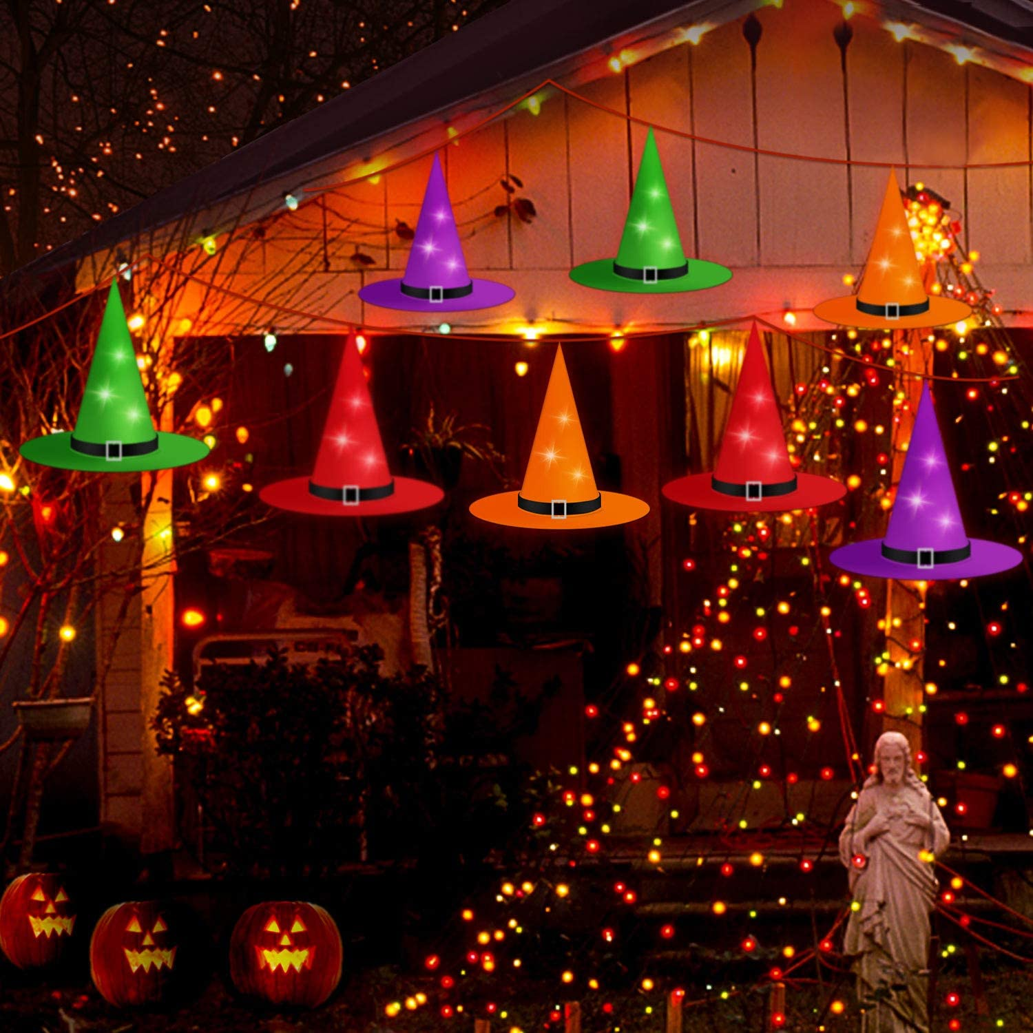 Halloween Decorations Outdoor Witch Hat, 8Pcs Hanging Lighted Glowing Witch Hat, Halloween LED String Light Decor with 8 Lighting Modes for Outdoor Yard Tree Lawn Garden Party