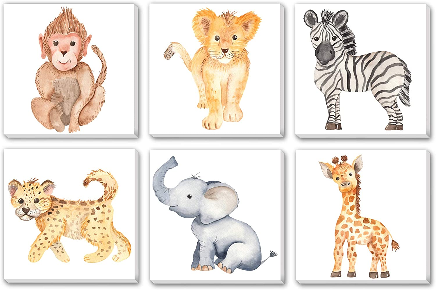 Texture of Dreams Watercolor Cute Baby Africa Jungle Animals Print on Canvas Wall Art, Lion Monkey Elephant Giraffe Leopard Zebra, Safari Wild Animals Nursery Boy Room Decor 6 Pack (10
