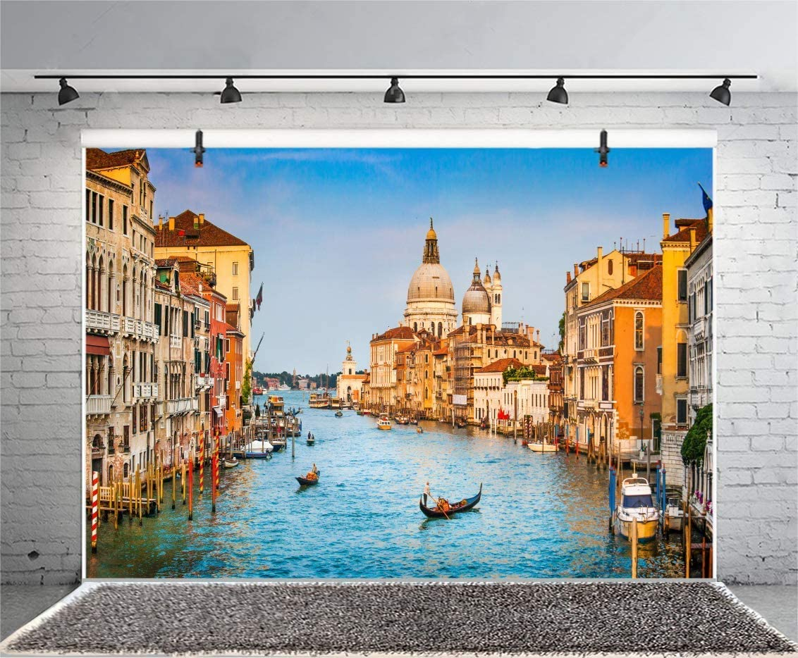 European 10x12 FT Photography Backdrop Venice City Sketch Style Hand Drawn Historical Buildings Tourist Town Picture Background for Child Baby Shower Photo Vinyl Studio Prop Photobooth Photoshoot