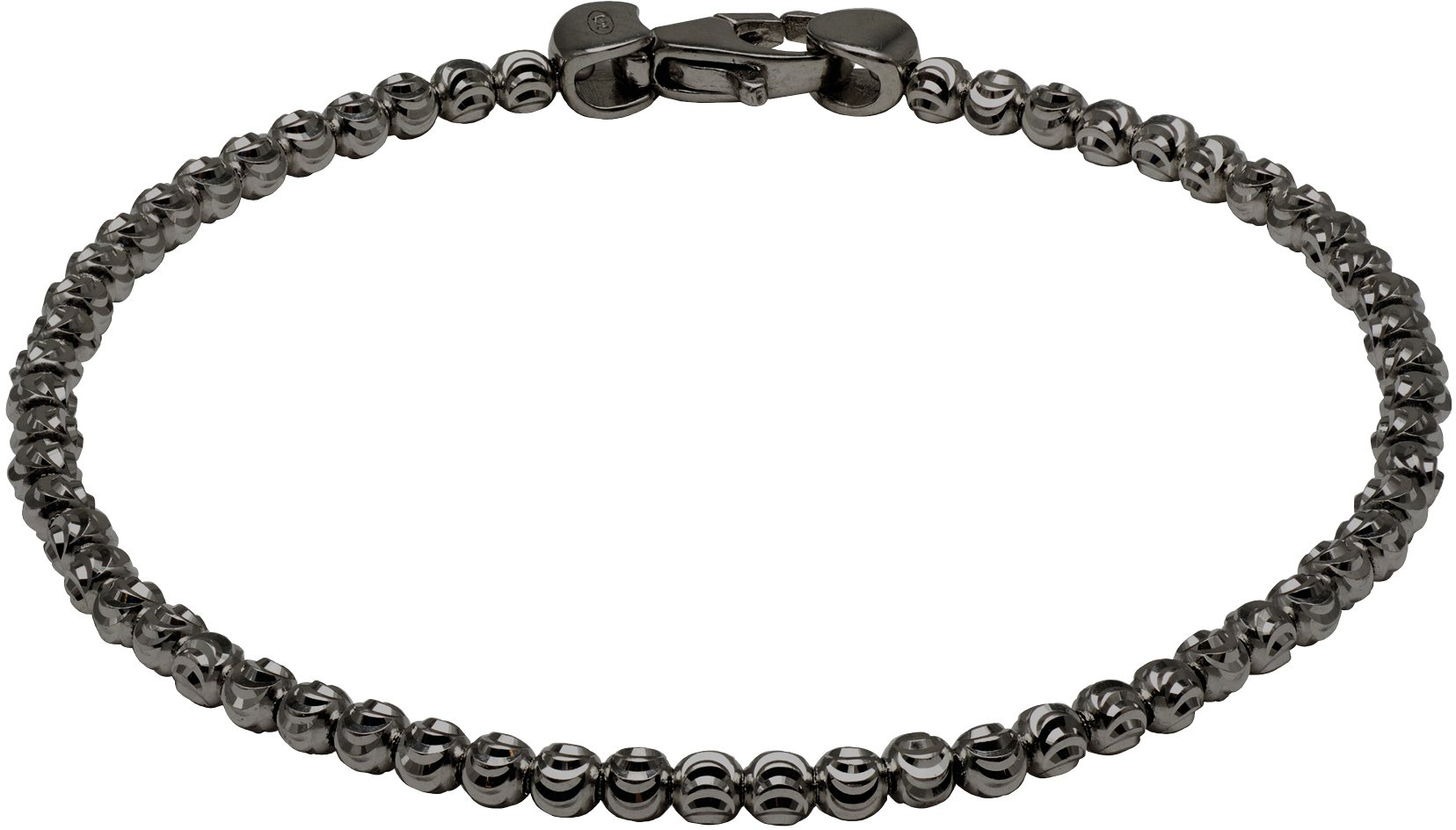 Officina Bernardi - Moon Collection - Bracelet (4 Color Choice) - Italian 925 Sterling Silver (black-rhodium-plated-silver, 8 Inches)