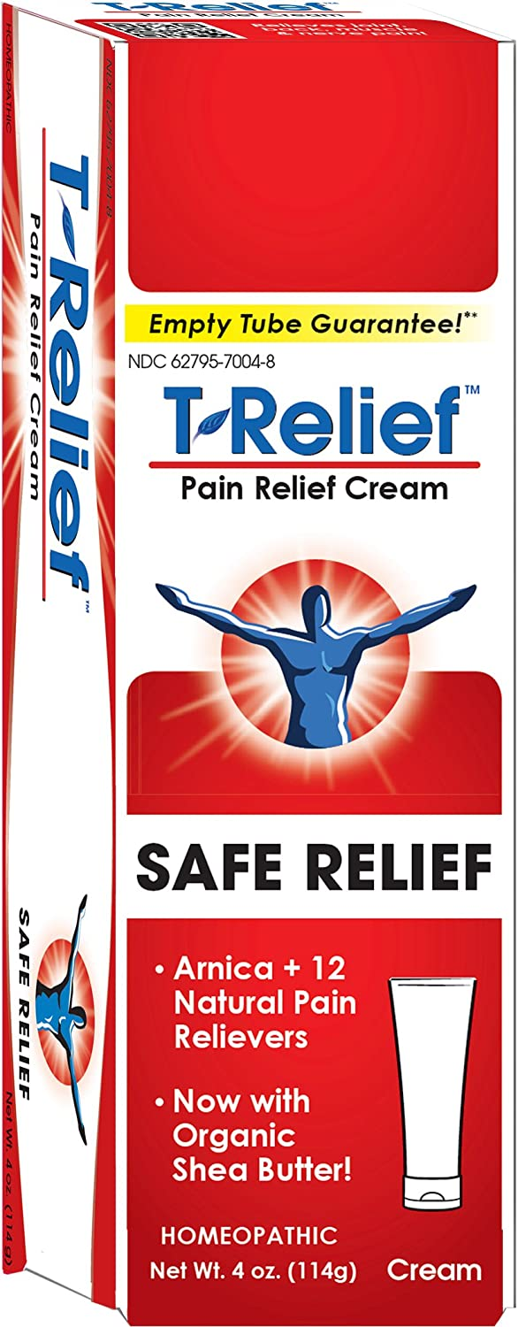 MediNatura T-Relief Natural Pain Relief with Arnica + 12 Plant-Based Pain Relievers - 4 oz Cream
