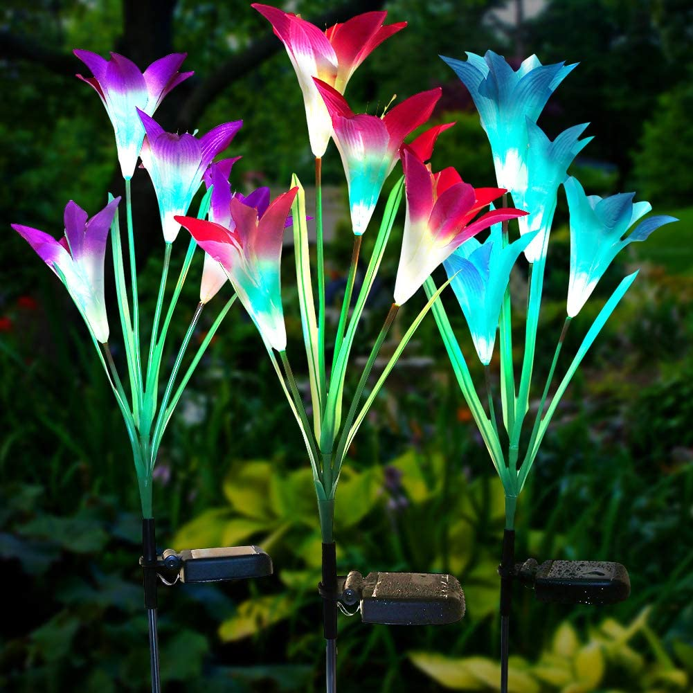 Litake Solar Lily Flowers Lights, Decorative Light Up Solar Flower Lights Outdoor,Muti-Color Changing Waterproof Pathway Solar Lights Outdoor for Garden Patio Backyard,3 Packs
