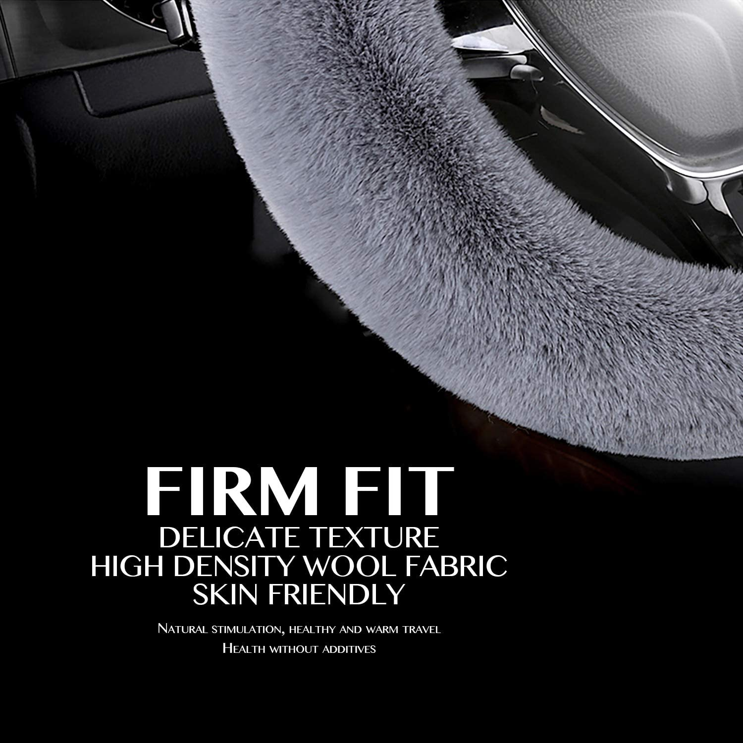 HOUSE DAY Car Steering Wheel Cover Fluffy Plush Wool Cover for Women//Girls//Ladies Universal 15 inch Black