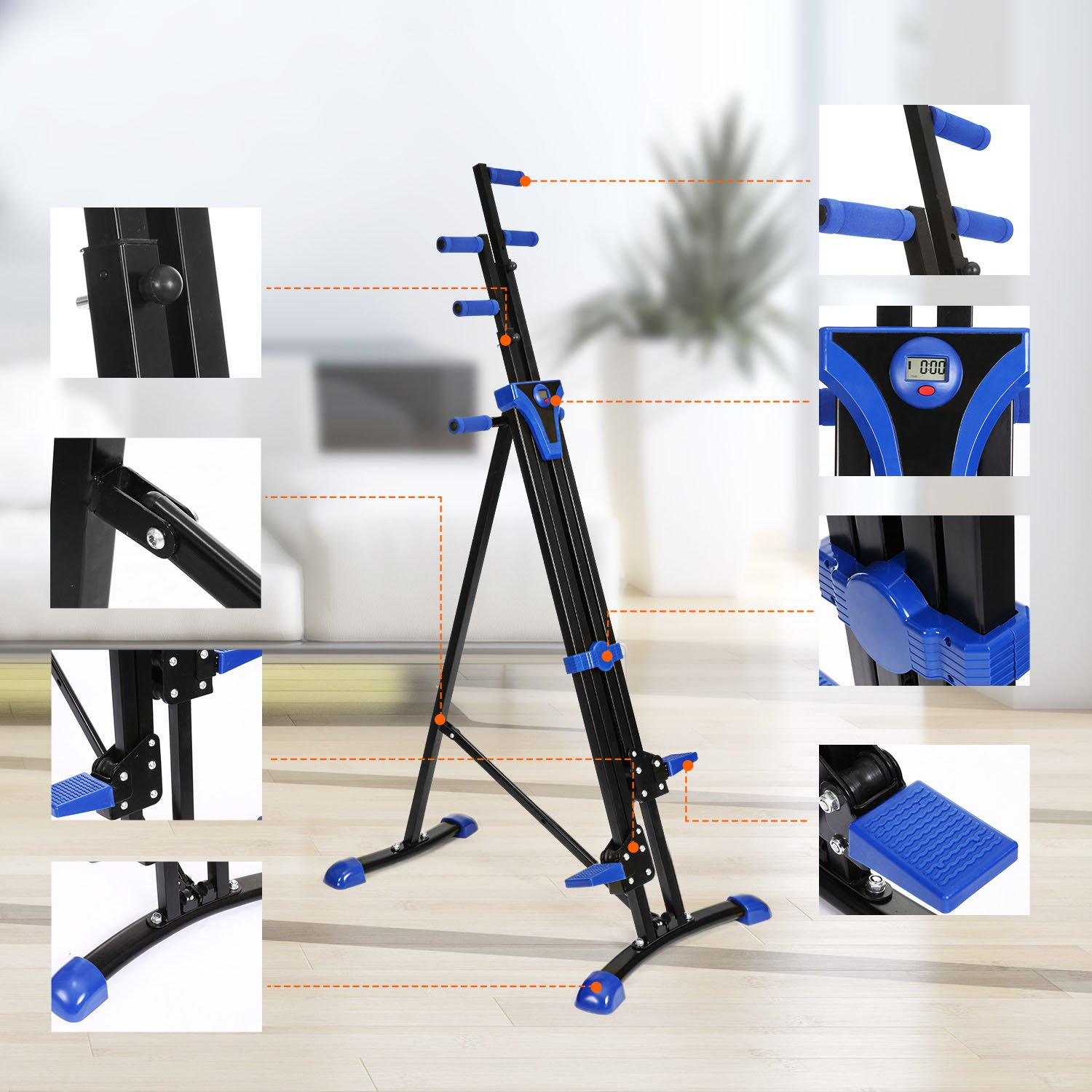 Moroly Vertical Climber 2 in 1 Climbing Stepper Folding Exercise Machine,Fitness Equipment Climber for Home Gym Cardio Workout Body Trainer (US Stock) (Blue)
