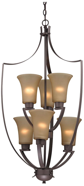 Oil Rubbed Bronze Cornerstone Lighting 7706FY//10 Foyer Collection 6 Light Chandelier