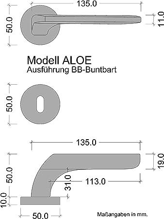 1 Set T/ürklinke Edelstahl matt BB-Buntbart JUVA Moderne Dr/ücker-Garnitur T/ürbeschlag Edelstahl T/ür-Griff f/ür Zimmert/üren T/ürdr/ücker-Garnitur Innent/üren mit Befestigungsmaterial LDH 2172