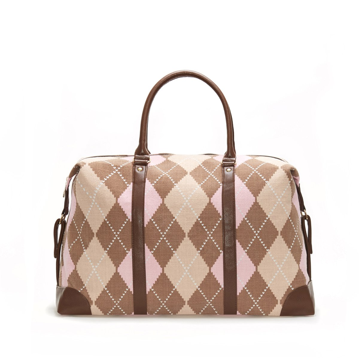 Lulu Dharma Argyle Duffle Bag, Weekender Bag Overnight Travel Tote Bag MSRP $99