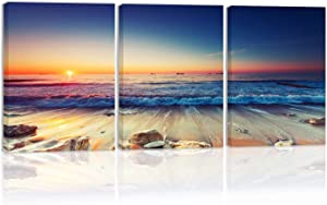 Sunset Ocean Waves Stone On Beach Wall Art Decor Sky Cloud Light Canvas Painting Kitchen Prints Pictures For Home Living Dining Room