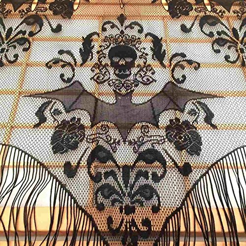 JUIOKK Black Gothic Lace Tassel Skull Bat Valance Tulle Topper Shawl Fabric Tablecloth Halloween Haunted House Party Curtain 96.5x102cm -