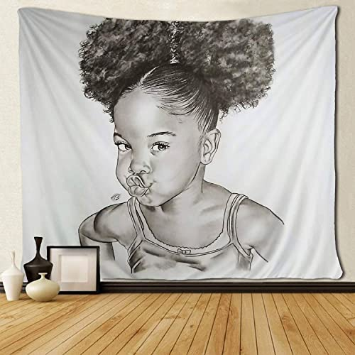 SARA NELL Black Girl Wall Tapestry Hippie Art Afro Girl Black Girl Naughty Doodle Mouth Tapestries Wall Hanging Throw Tablecloth 60X90 Inches for Bedroom Living Room Dorm Room
