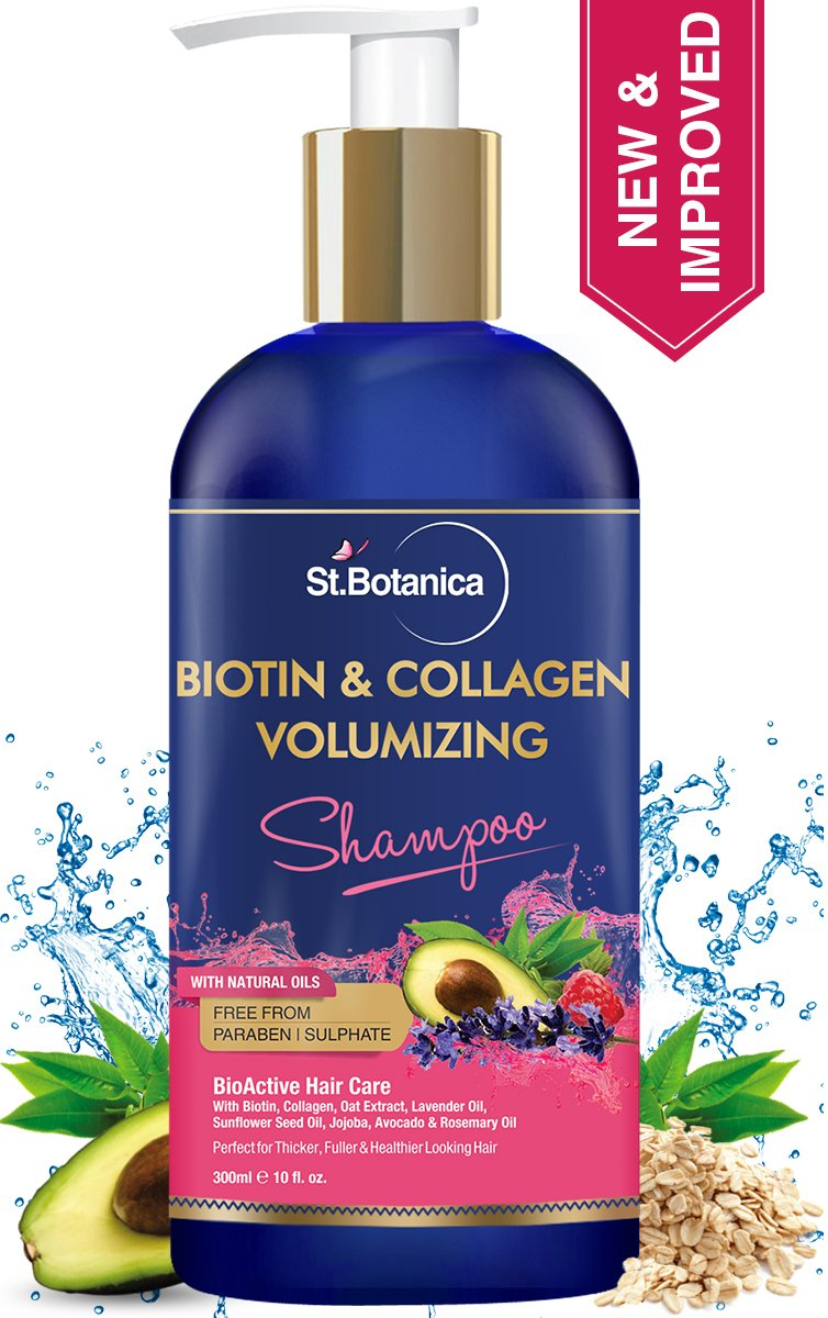 StBotanica Biotin & Collagen Volumizing Hair Shampoo - 300ml - No Sulphate, No Parabens, No Silicon (New & Improved) product image