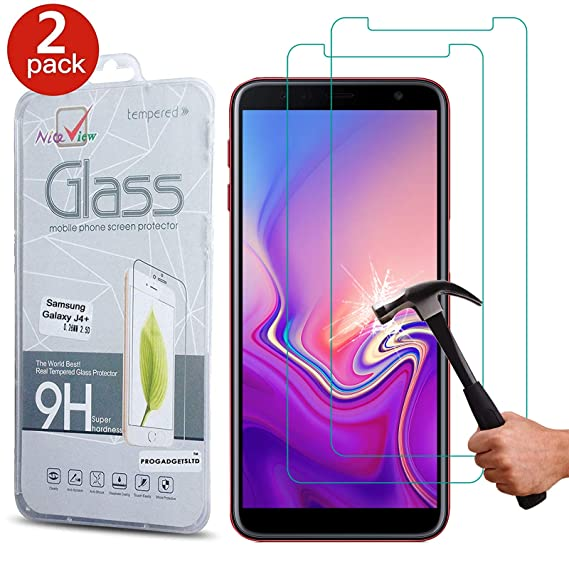 c509339dcf6b30 [2 Pack] Galaxy J4 Plus 2018 Screen Protector, Gorilla Tempered Glass  Screen Protector