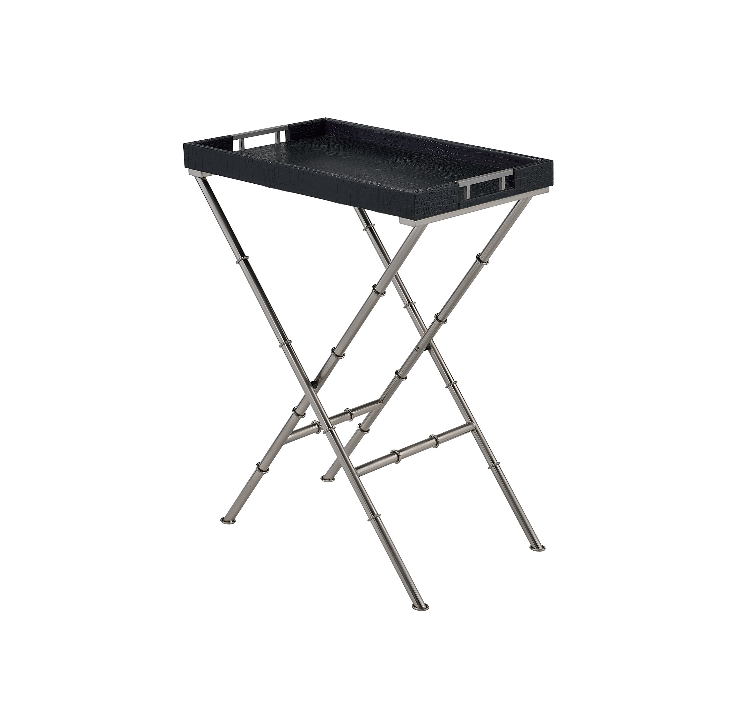 ComfortScape Portable Antique Tray Table for Serving Snacks, Black Weave by ComfortScape