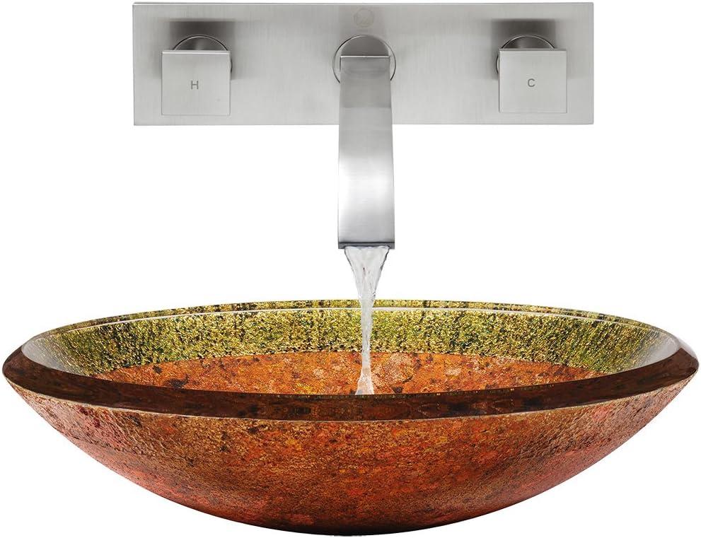 Vigo VGT333 Glass Vessel Sink and Titus Wall Mount Faucet Set 3-Pack Brushed Nickel Janus