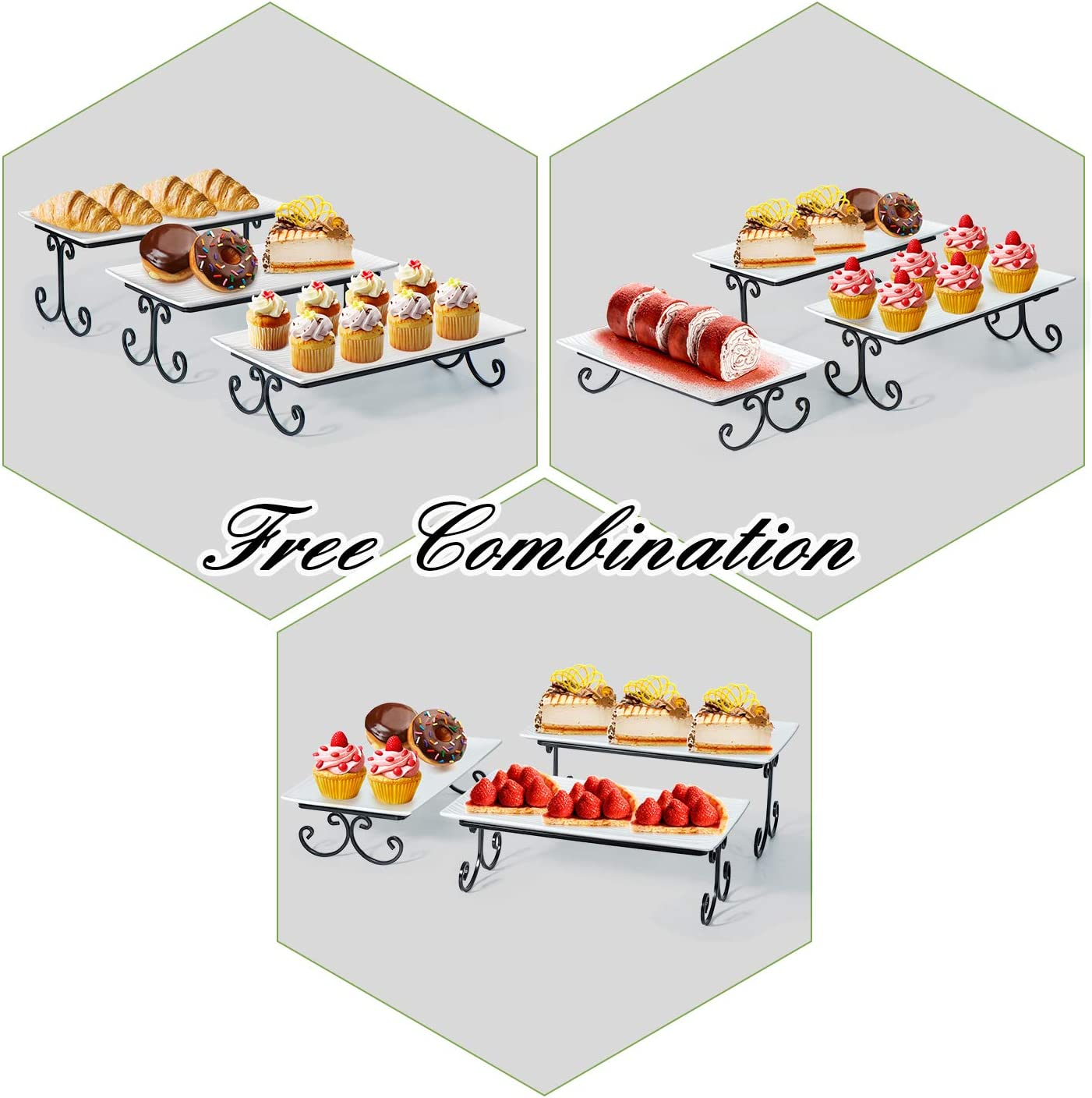 3 Tier Serving Platter and Tray Free Combination Cake Cupcake Stand for Food Dessert Display SRIWATANA Tiered Serving Stand