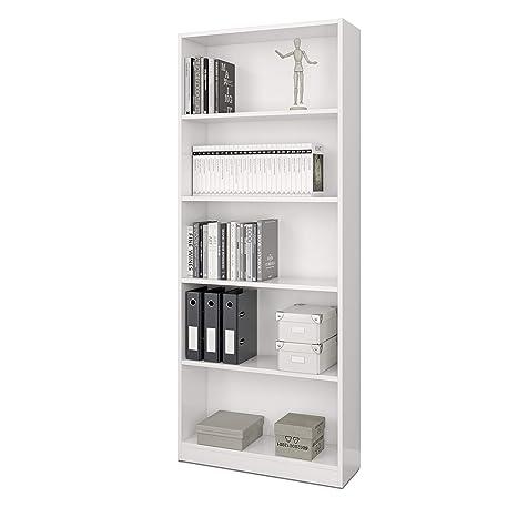 Habitdesign 005626A - Estantería de oficina alta Stylus, 80 cm (ancho) x 201 cm (alto) x 28 cm (fondo), color blanco artik