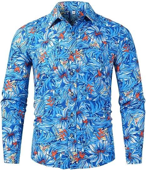 jfhrfged - Camisa de Playa para Hombre de Manga Larga Estampada Slim Casual Otoño Invierno Camiseta Top: Amazon.es: Deportes y aire libre