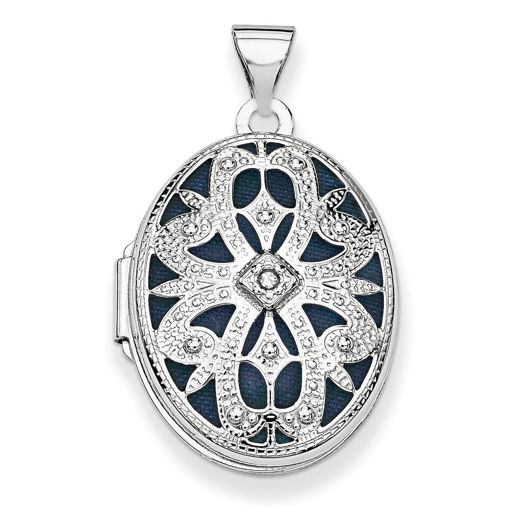 ICE CARATS 14k White Gold 21mm Oval Diamond Vintage Photo Pendant Charm Locket Chain Necklace That Holds Pictures Fine Jewelry Ideal Mothers Day Gifts For Mom Women Gift Set From Heart