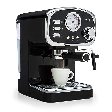 Klarstein Espressionata Gusto - Cafetera, Espresso, Diseño retro, 1100 W de potencia, Presión de 15 bares, Depósito de agua de 1,25 litros, Boquilla ...