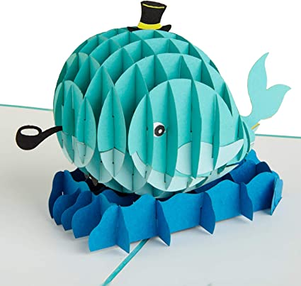 PaperCrush - Tarjeta pop-up, diseño de ballena Tarjeta de ...