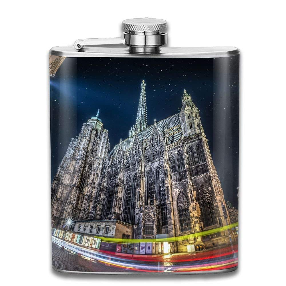 Presock Flasks for Liquor,Vienna Cityscape Long Exposure Gifts Top Shelf Flasks Stainless Steel Flask 7 OZ for Men Women