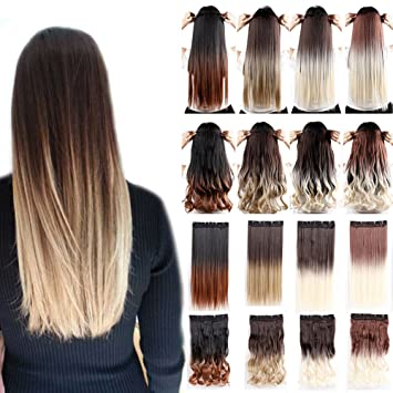 Clip In Hair Extensions Ombre Dip Dye Color Synthetic Hairpiece 2 Tone Japanese Kanekalon Fiber Full