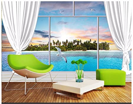 Malilove 3D Photo Wallpaper Custom Wall Murals Beautiful Window Outside The Seaside Scenery Mural