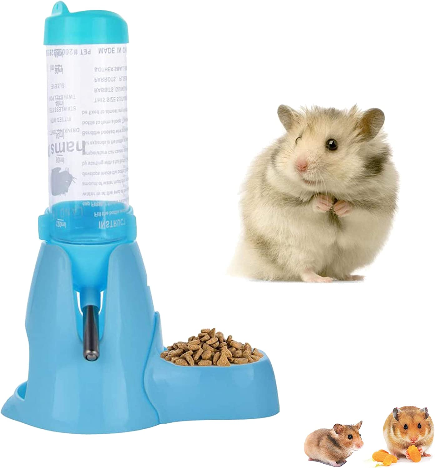 Dynaseal Hamster Hanging Water Bottle Hamster Water Bottle,Little Pet Automatic Drinking Bottle with Food Container Base Hut Hanging Water Feeding Bottles Auto Dispenser for Small Animals