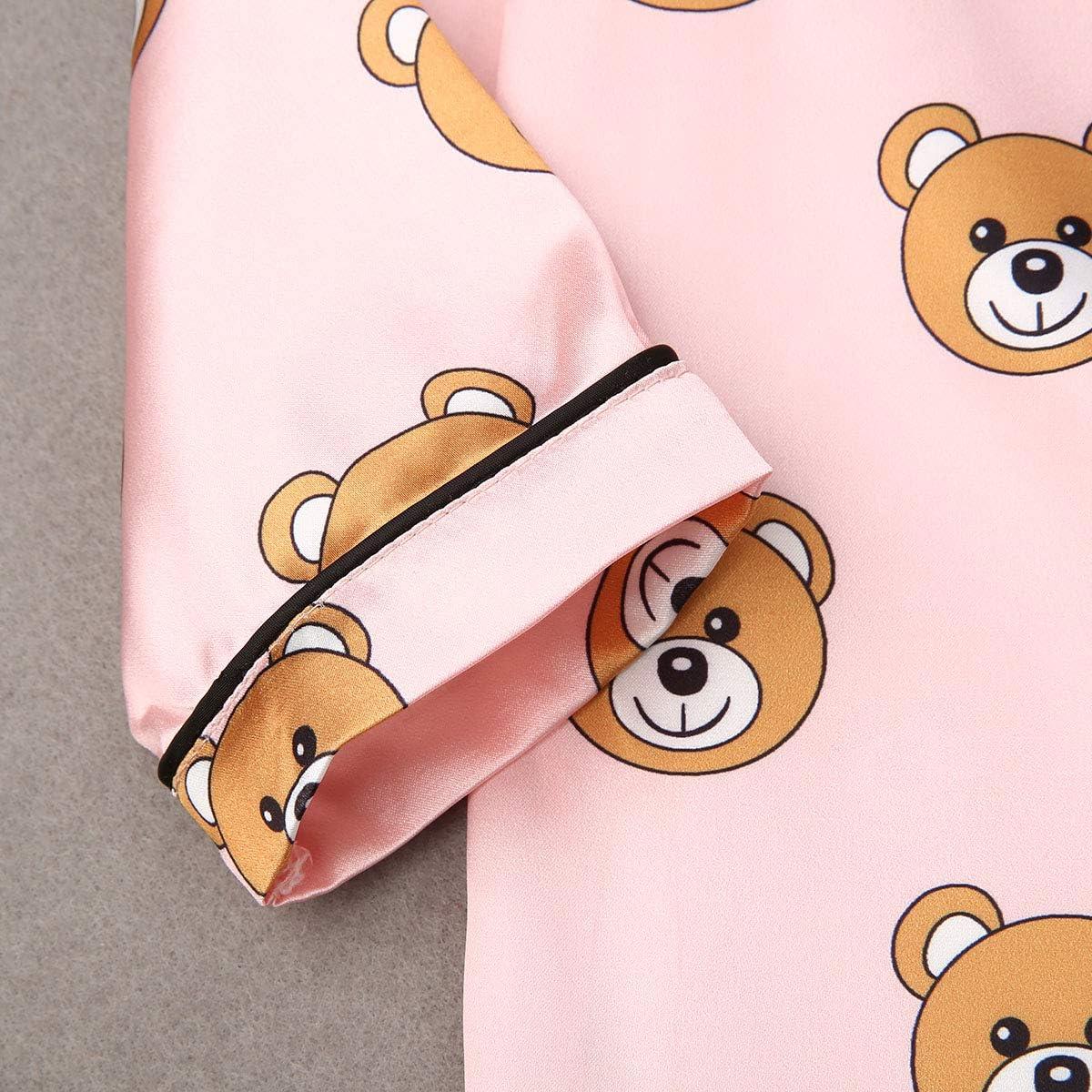 Baby Boy Girl Kids Silk Pajamas Set Long Sleeve Sleepwear Kids Nightwear Polka Dot Nightgown