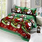 Anself - Juego Ropa de Cama 4 Piezas de Navidad,Algodón (1xfunda de cama 200*230cm,1xfunda nórdica 160*220cm,2xfunda de almohada 50*75cm)