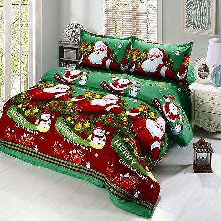 Anself 4 Piece 3d Bedding Set Christmas Design Cotton Grun