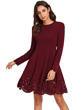 ea92e2855a3 ROMWE - Robe - Trapèze - Manches Longues - Femme Small - Rouge - X ...