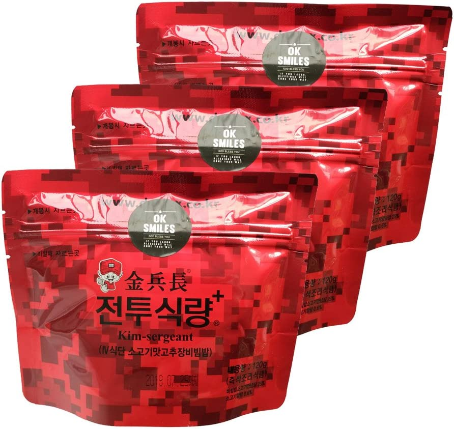 Kim sergeant Korean MRE Military Food Gift Free Plastic Spoon Bibimbap Spicy Beef Rice Food Rations Combat Surplus 120g/pack