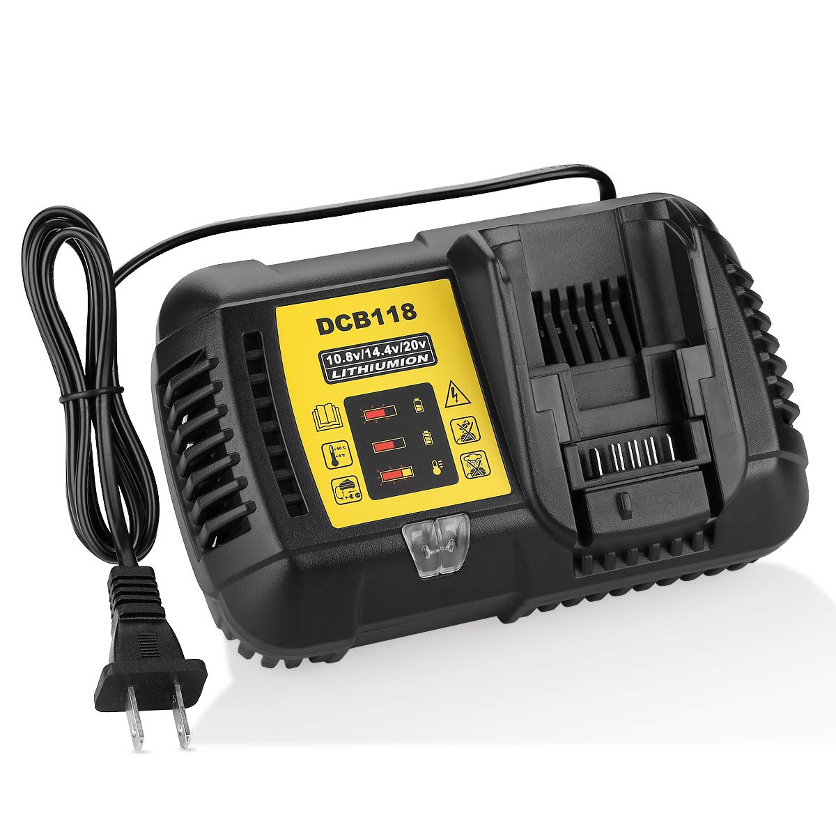YABELLE DCB118 DCB112 Replacement Battery Charger 4.5A Lithium-Ion Fast charger for Dewalt DCB205 DCB206 DCB203BT DCB204BT DCB127 DCB101 DCB102 Dewalt 20v Battery Charger